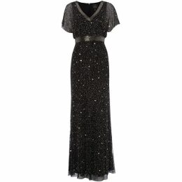Adrianna Papell Flutter sleeve embellished maxi