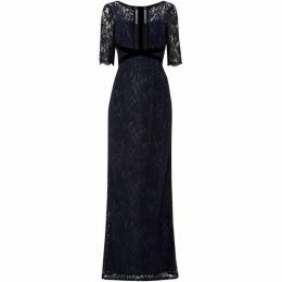Adrianna Papell Short sleeve gown with velvet trim