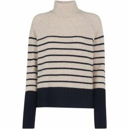 Whistles Stripe Funnel Neck Wool Knit