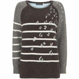 Mint Velvet Grey Stripe & Leopard Knit
