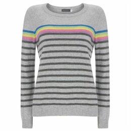 Mint Velvet Grey & Rainbow Striped Knit