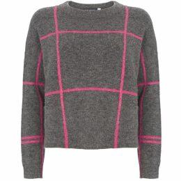 Mint Velvet Granite & Pink Check Boxy Knit