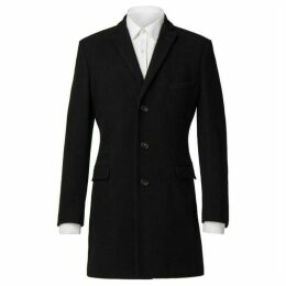 Ben Sherman Black Melton Overcoat