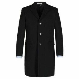 Alexandre Hythe Black Melton Overcoat