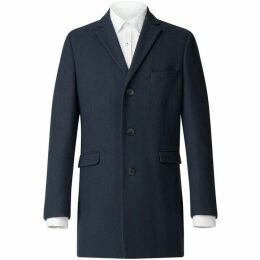 Limehaus Navy Blue Melton Overcoat