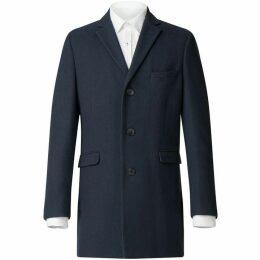 Limehaus Navy Blue Melton Overcoat