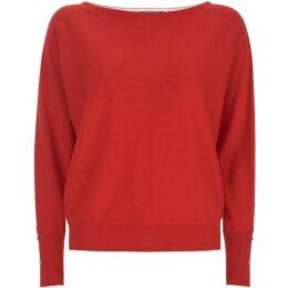Mint Velvet Red Stripe Back Batwing Knit