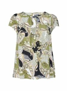 Green Paisley Print Shell Top, Navy