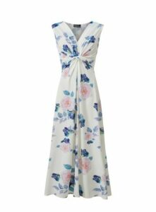 **Grace Ivory Twist Knot Maxi Dress, Ivory