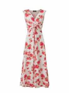 **Grace Pink Twist Knot Maxi Dress, Pink