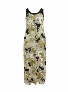 Khaki Paisley Print Maxi Dress, Khaki