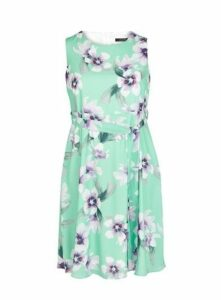 Mint Floral Print Fit And Flare Dress, Mint
