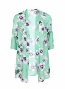 Mint Green Floral Print Kimono, Mint