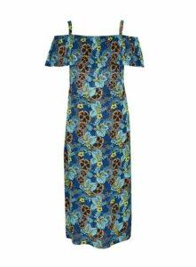 Blue Floral Print Cold Shoulder Maxi Dress, Dark Multi