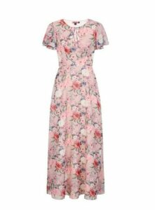 **Chi Chi London Pink Floral Maxi Dress, Pale Pink