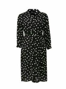 Black Polka Dot Print Shirt Dress, Black/White