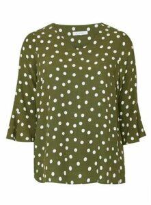 Khaki Polka Dot Frill Sleeve Top, Khaki