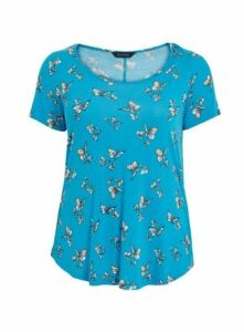 Blue Butterfly Print T-Shirt, Turquoise