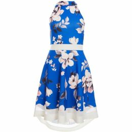 Quiz Royal Blue And Pink Floral High Neck Contras
