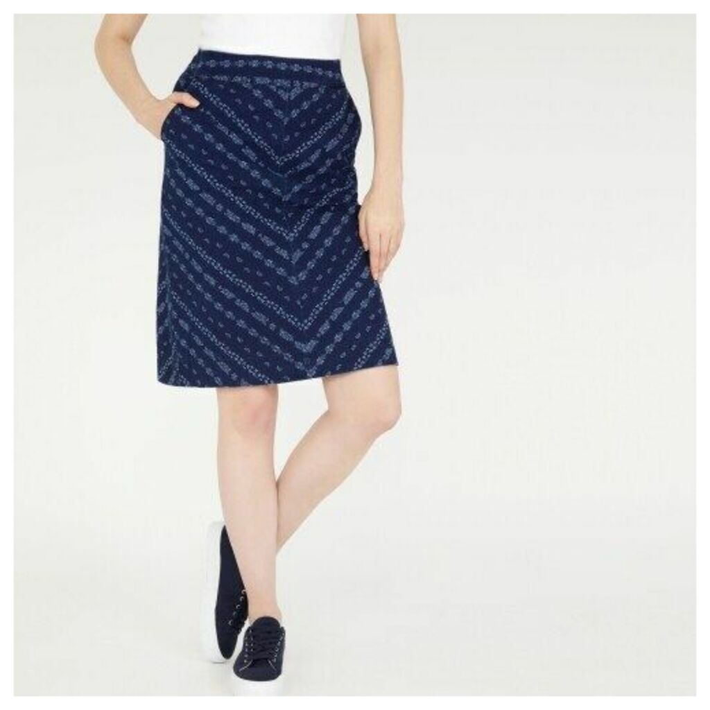 ALine Chevron Print Denim Skirt