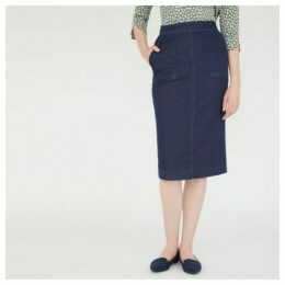 Midi Length Denim Jersey Pencil Skirt