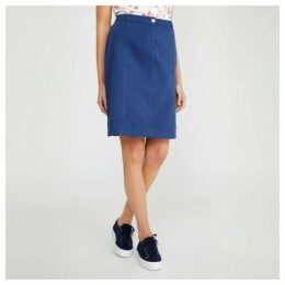 Prussian Blue Denim Look Pencil Skirt