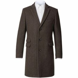 Racing Green Lorne Brown Donegal Overcoat