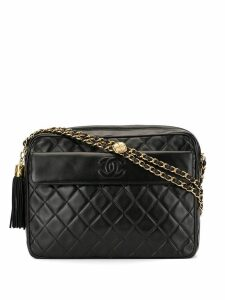Chanel Pre-Owned quilted fringe chain shoulder bag - Black