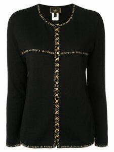 Fendi Pre-Owned logo trim cardigan - Black