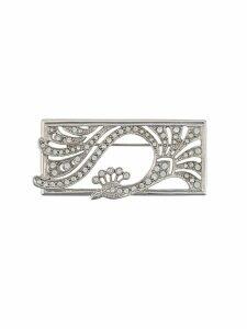 Susan Caplan Vintage 1950s Deco style peacock brooch - Silver
