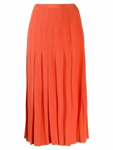 Chanel Pre-Owned pleated midi skirt - ORANGE