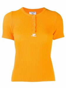 Courrèges Pre-Owned knitted ribbed T-shirt - Orange