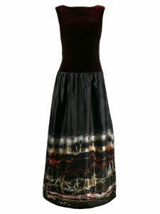 Jean Paul Gaultier Pre-Owned slash neck abstract print gown - Red