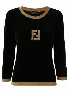 Fendi Pre-Owned long sleeve logo top - Black