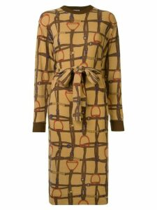 Céline Pre-Owned horse straps print tied dress - Brown