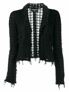 Chanel Pre-Owned 2005 lace frayed jacket - Black