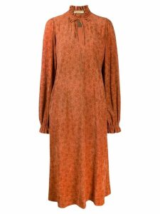 Balenciaga Pre-Owned 1970's plush effect floral dress - Orange