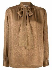 Yves Saint Laurent Pre-Owned 1970's snakeskin print pussy bow blouse -