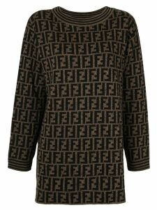 Fendi Pre-Owned Zucca Pattern Long Sleeve Knit One Piece Dress - Brown