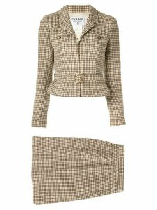 Chanel Pre-Owned Set Up Suit Jacket Skirt - Brown