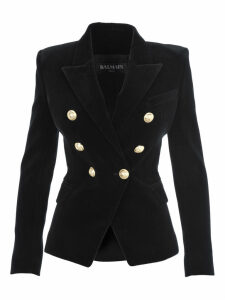 Balmain Double Breasted Velvet Blazer
