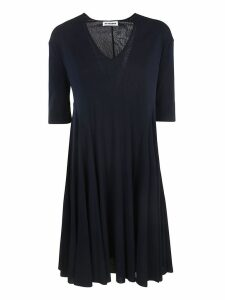 Jil Sander V-neck 3 Quarter Length Sleeve Dress