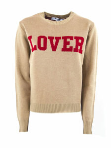 MSGM Beige Wool Blend Scoop Neck Sweater