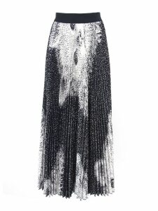 MSGM White And Black Fabric Pleated Skirt