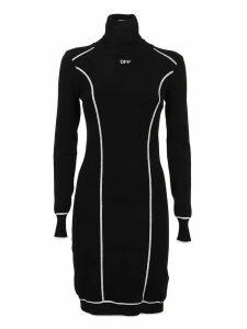Off-White Knit Athletic Turtleneck Dres Black Whit