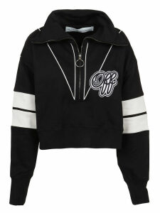 Off-White Intarsia Crop Sweatshirt Black Black