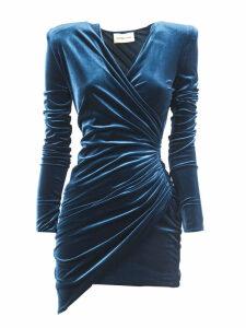 Alexandre Vauthier Cobalt Draped Mini Dress