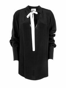 Dondup Long Shirt In Black Silk