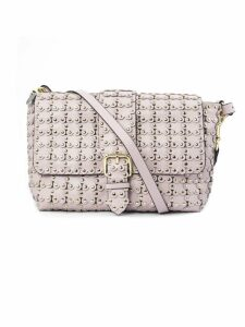 RED Valentino Flower Puzzle Shoulder Bag In Pink Leather