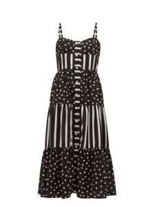 Solid & Striped - Tiered Polka Dot And Striped Midi Dress - Womens - Black White
